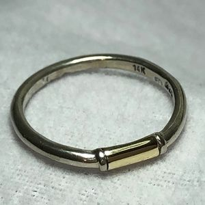 Silver and gold stacking ring.